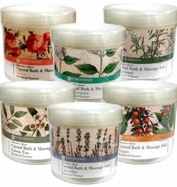 Flor de Mayo and Rose Crystal Bath Salt Massage 950g / Body Cleansers / powder form / spoon gift